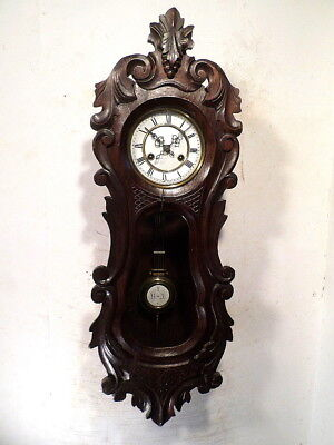 Circa 1885 Elaborately & Deeply Carved Black Forest 8 Day Vienna Wall Clock
