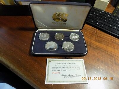 1986 Korea Seoul 10th Asian Games Five Coin Proof Set - Four Silver Coins!