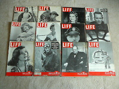 LIFE MAGAZINE  - 12 Vintage ISSUES 1941 to 1950 - LOT #17 - ADS SCRAPBOOKING ETC