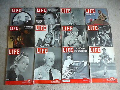 LIFE MAGAZINE  - 12 Vintage ISSUES 1941 to 1953 - LOT #20 - ADS SCRAPBOOKING ETC