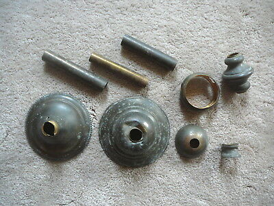 LOT of NINE ANTIQUE SALVAGED BRASS CEILING FIXTURE PARTS - TUBE CANOPY SPACER