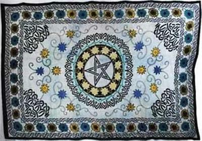 AzureGreen WTFP 72 in. x 108 in. Flower Pentagram Tapestry