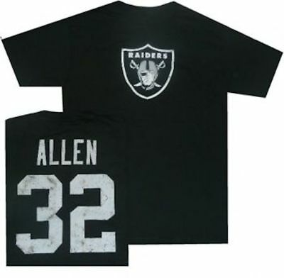 Oakland Raiders Marcus Allen Throwback Distressed Reebok T Shirt  Clearance!