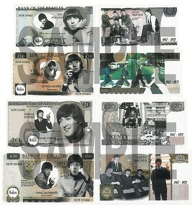 Set Of 4 Beatles Double Sided Fun Uk Style Notes  (Shipped From Uk)
