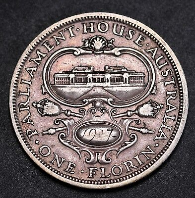 1927 Australia Parliament Florin Sterling Silver  George V Coin KM# 31