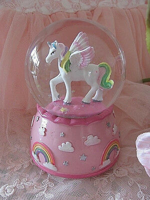 Pink Rainbow Unicorn Horse Musical Snowglobe ~ Globe ~ Glitter ~ Water Ball