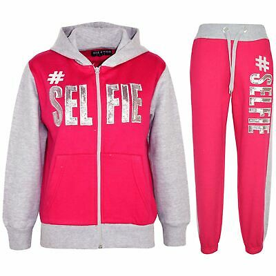 Kids Girls Tracksuit Designer #Selfie Pink & Grey Top & Bottom Jogging Suit 5-13