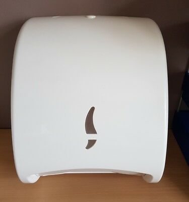 Used White Plastic Paper Hand Towel Dispenser Bathroom Office Workplace Bathroom