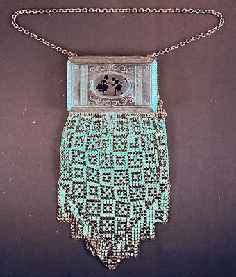 ANTIQUE 1920s METAL MESH PURSE by WHITING AND DAVIS WITH BUILT IN COMPACT