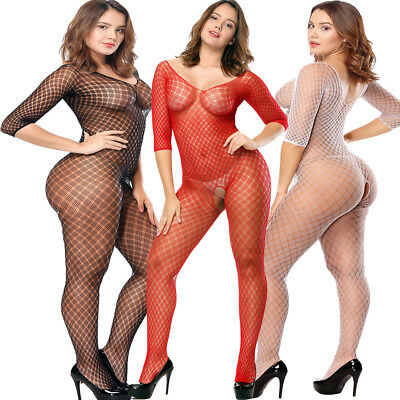 Ladies Lingerie Nightwear Women Open Crotch Fishnet Body Stocking Bodysuit