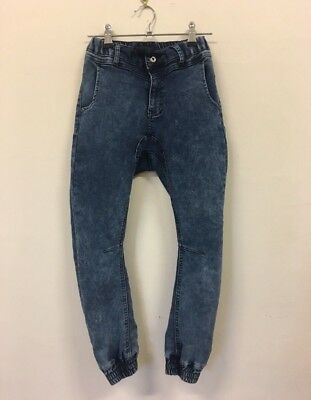 SEED TEEN Blue Cotton Denim Low Rise Baggy Pants / Jeans Unisex Kids Size 8