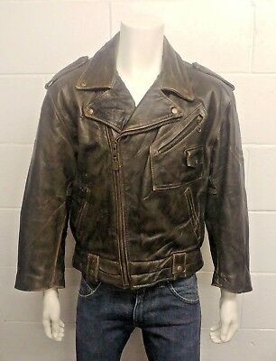 Redskins Riders 100% Heavy Weight Leather Biker Jacket with Norton graphic