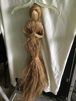 "ANTIQUE VINTAGE 36"" Raffia Straw Large Old Primitive DOLL DIY ANGEL Rare DECOR"