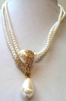 """Stunning Vintage Estate Faux Pearl Beaded Rhinestone 18"""" Necklace!!! 1492T"""