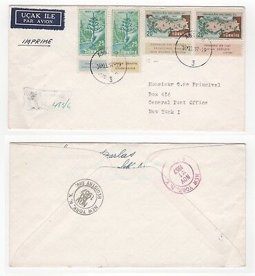 1957 TURKEY First Day Cover FORESTRY TEACHING Ankara to New York USA Gutters MAP