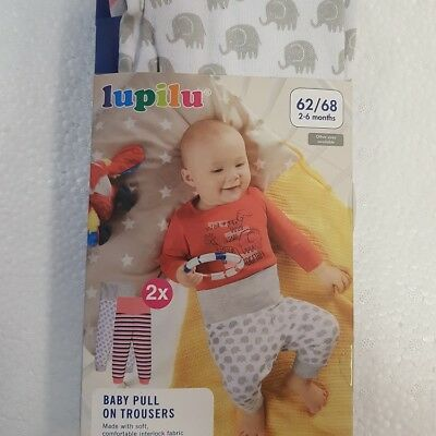 LUPILU Baby Pull On Trousers 2 Pack Comfortable Skin Friendly 100% Cotton
