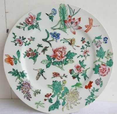ASSIETTE debut XXe Signe Porcelaine emaillee CHINE Vert Porcelain Asie Plate Art