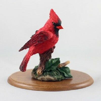 Beautiful HAND PAINTED CARDINAL resin WILD BIRD FIGURINE on HARDWOOD BASE Statue