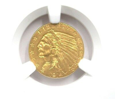 1914 Indian Head $2.5 Gold Ngc Ms62 Rare! Key Date! Lists For $1250