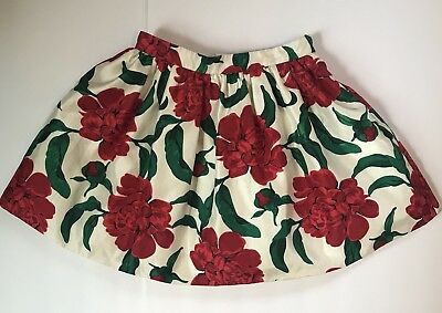 Girl's Gymboree White And Red Floral Skirt-Size 9
