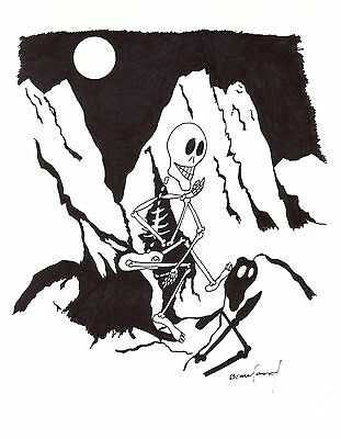 ORIGINAL ART Ink Drawing by Canadian Artist -- Skeleton in Mountains at Night