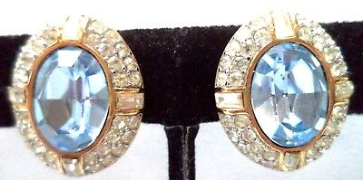 *rare* Vintage Signed Givenchy Paris New York Rhinestone 7/8 Clip Earrings G120L