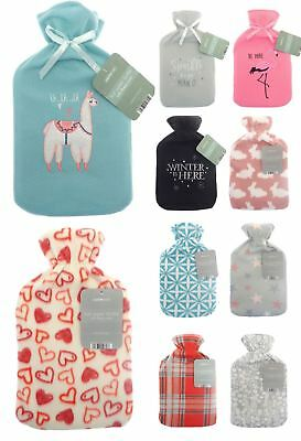 Fleece Hot Water Bottle & Soft Cover 2 Litre Rubber Thermal Winter Novelty Xmas
