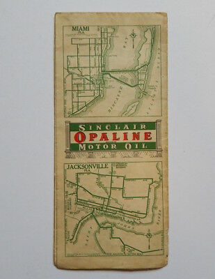Sinclair Opaline Motor Oil Florida Road Map (1920s)