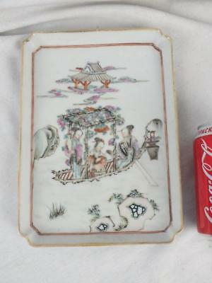 Good 19Th C Chinese Porcelain Famille Rose Ladies In A Boat Tray