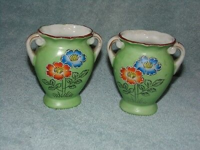 Vintage Pair Of Double Handle Green Vases With Orange And Blue Flowers, Japan