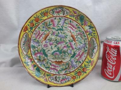 Good 19Th C Chinese Famille Rose Yellow Border Bats Butterflies Plate - Marks