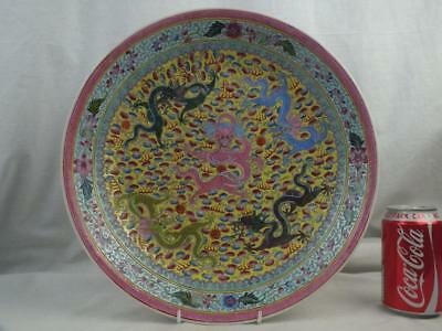 """Good Large 13"""" Chinese Republic 5 Dragons Famille Rose Charger Dish - Marks"""