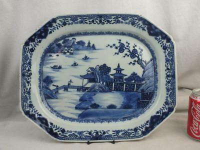 """Large 14.75"""" 18Th C Chinese Porcelain Blue White Figures In A Landscape Platter"""