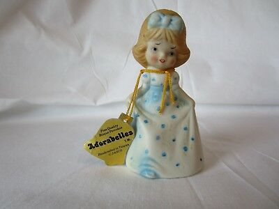 Vintage Bisque Porcelain Jasco 1979 Adorabelle Girl In Blue Dress Bell Figurine