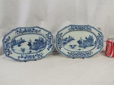 Good Pair 18Th C Chinese Porcelain Blue & White Landscape Shaped Small Platters