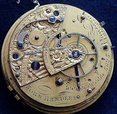JOHN HANDLEY Runcorn Massey 3 PATENT FUSEE Pocket Watch Movement circa 1825