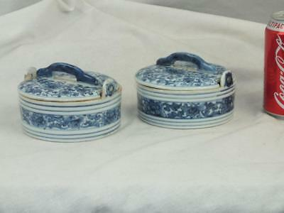 UNUSUAl 18TH C CHINESE PORCELAIN BLUE & WHITE BUTTER TUBS AND COVERS