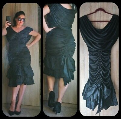Wow! Vintage 80s ruched wiggle pin up hourglass bodycon lbd cocktail dress S / M