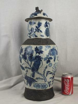 "Large 19"" 19Th C Chinese Porcelain Blue & White Bird Floral Vase And Cover"