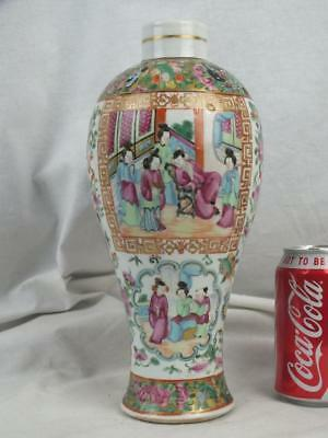 19Th C Chinese Porcelain Canton Famille Rose Figures  Vase