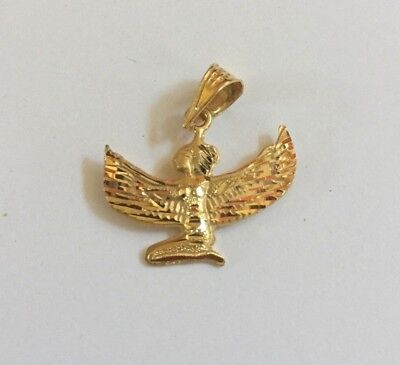 "Egyptian Winged Goddess Isis 18K Yellow Gold Pendant 0.85"" # 51"