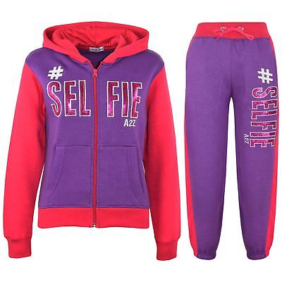 Kids Girls Tracksuit Designer's #Selfie Purple & Pink Top & Bottom Jogging Suits