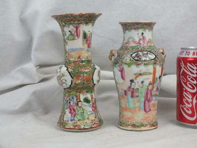 19Th C Chinese Porcelain Canton Famille Rose Gu Vase And Another Vase