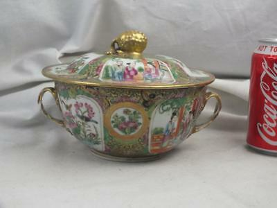 Quality 19Th C Chinese Porcelain Canton Famille Rose Handled Bowl And Cover