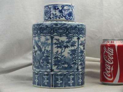 19Th C Chinese Kangxi Marks Blue White Bird Panels Objects Tea Canister & Cover
