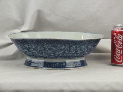 19Th C Chinese Porcelain Blue & White Shaped Oblong Bowl On Foot