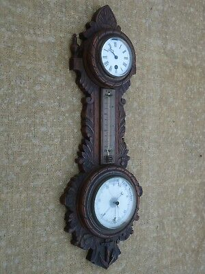 Antique Wall Clock/Barometer Thermometer. Spares Or Repair