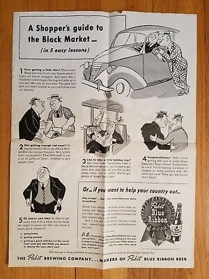 Original WW2 1944 Poster Black Market Shooping Pabst Brewing Co Beer NO Reserve