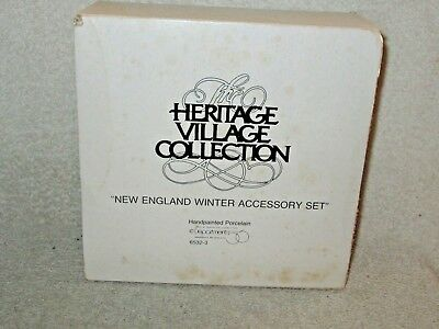"""Dept. 56 Heritage Village Collection """"New England Winter Accessory Set"""""""