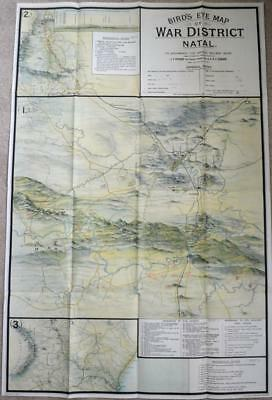 BIRD'S EYE MAP OF WAR DISTRICT NATAL 1903 2nd Anglo Boer War South Africa